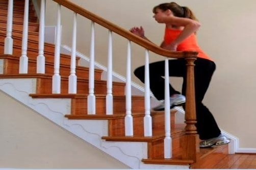 Sirona Therapy serving Westchester Fairfield and Putnam blog post 5 Tips To Stay Healthy During Quarantine. Image of using stairs at home for exercise.
