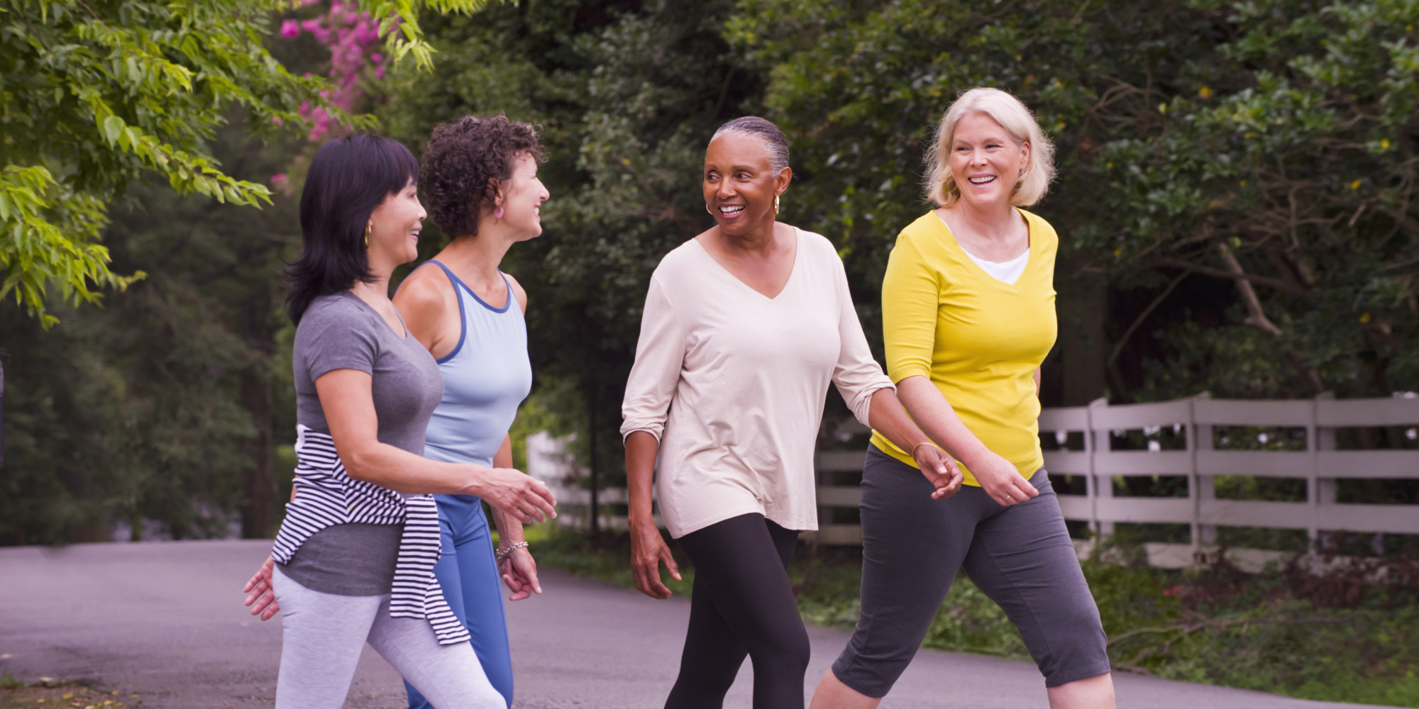 Sirona therapy Westchester blog post about self care. Image of older women walking for health.